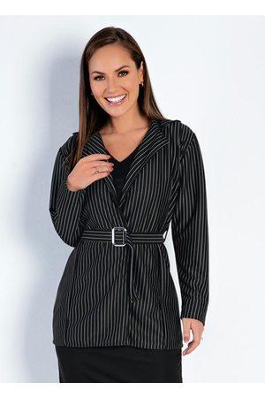 ROSALIE Mulher Blazer - Blazer Risca de Giz Alongado Moda Evangélica