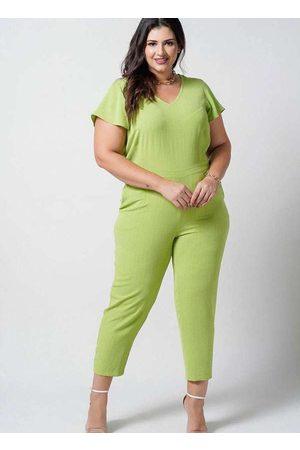 Newumbi Mulher Macacão - Macacão Longo Almaria Plus Size New Umbi Decote V