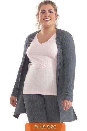Lepoque Mulher Cardigã - Cardigan Plus Size com Cadarço Mescla Escuro