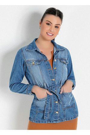 Rosalie Mulher Parka - Parka com Faixa Jeans Moda Evangélica