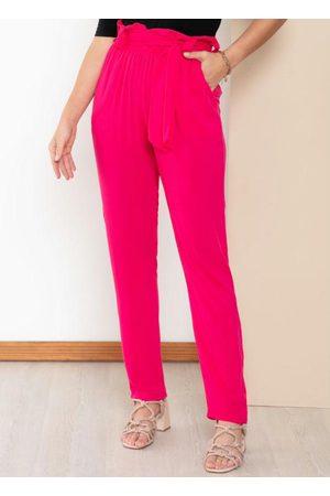 QUINTESS Calça Clochard Pink com Bolsos Funcionais