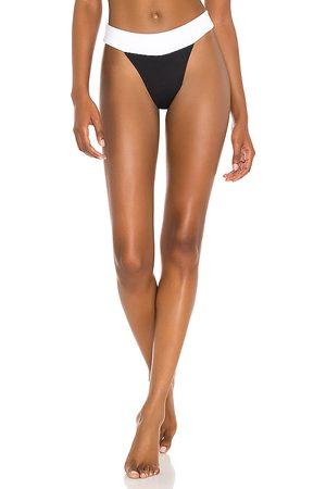 Indah Bikini - Borneo Skimpy Colorblock High Cut 90s Supermodel Bikini Bottom in Black,White. - size L (also in M, S, XS)