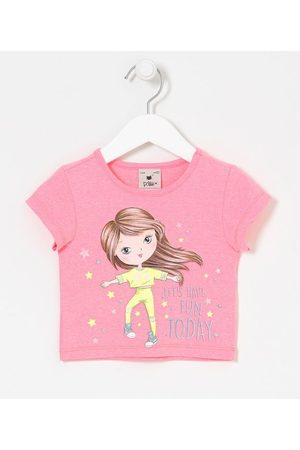 Póim (1 a 5 anos) Menina Blusa - Blusa Cropped Infantil Estampa de Menina com Estrelas - Tam 1 a 5 anos       01