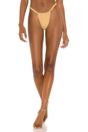 WeWoreWhat Ruched Bikini Bottom in Yellow. - size L (also in M, S, XS)