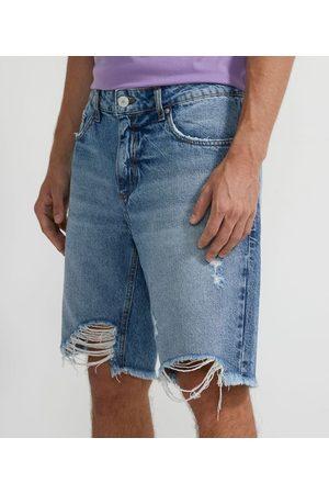 Blue Steel Bermuda Jeans Fit Slim com Barra Destroyed | | | 38