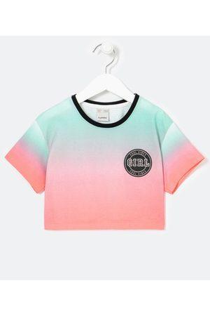 Fuzarka (5 a 14 anos) Blusa Infantil Cropped Dip Dye com Estampa Brasão Girl - Tam 5 a 14 anos     Multicores   11-12