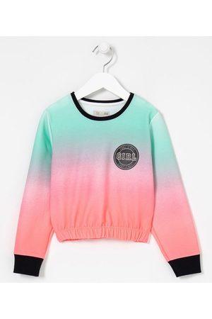 Fuzarka (5 a 14 anos) Blusão Infantil Cropped Dip Dye Estampa Girl - Tam 5 a 14 anos     Multicores   11-12