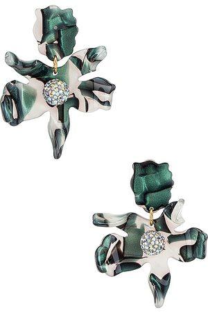 Lele Sadoughi Small Crystal Lily Earrings in Dark Green.