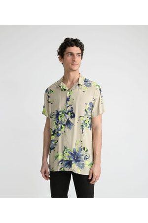 Request Camisa Manga Curta em Viscose Estampa Flores Brush | | | GG