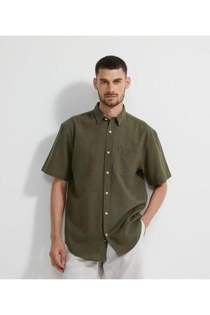 Marfinno Homem Camisa Manga Curta - Camisa Manga Curta em Linho com Bolso | | | G