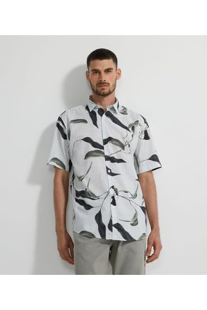 Marfinno Homem Camisa Manga Curta - Camisa Manga Curta com Estampa de Folhagens em Voil | | | G