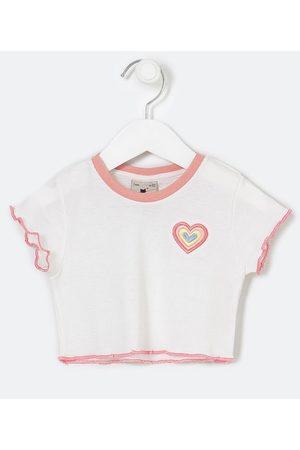 Póim (1 a 5 anos) Blusa Infantil Cropped Bordado de Coração - Tam 1 a 5 anos | | Multicores | 01