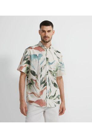 Marfinno Camisa Manga Curta em Linho Estampa Folhagens       P