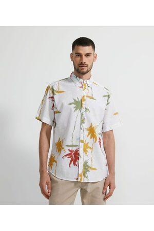 Marfinno Camisa Manga Curta em Linho Estampa Coqueiros       G