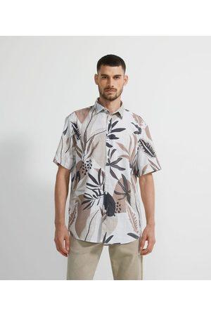Marfinno Homem Camisa Manga Curta - Camisa Manga Curta Estampa Folhagens em Voil | | | G