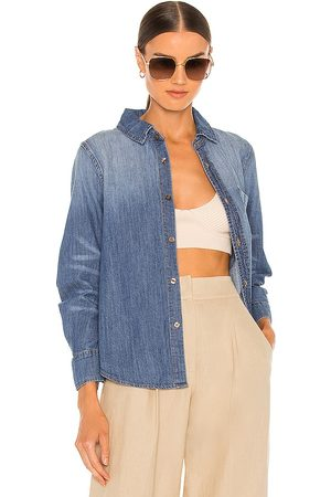 JONATHAN SIMKHAI STANDARD Ryder Denim Pleated Sleeve Top in Blue. - size L (also in M, S, XS)