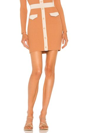 JONATHAN SIMKHAI Heather Compact Cut Out Mini Skirt in Tan,Peach. - size L (also in M, S, XS)