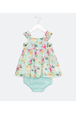 Teddy Boom (0 a 18 meses) Criança Vestido Estampado - Vestido Infantil em Viscose Estampa Floral com Calcinha - Tam 0 a 18 meses       9-12M