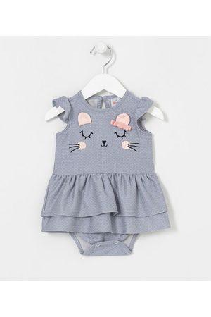 Teddy Boom (0 a 18 meses) Vestido Body Infantil Estampa Poá com Gatinha - Tam 0 a 18 meses | | | 6-9M