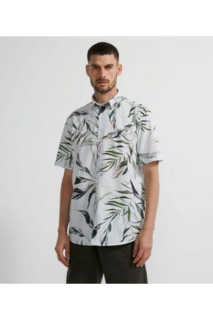Marfinno Homem Camisa Manga Curta - Camisa Manga Curta em Voal com Estampa Folhagens | | | P