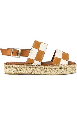 ALOHAS Double Strap Scacchi Sandal in Tan. - size 35 (also in 36, 37, 38, 39, 40)