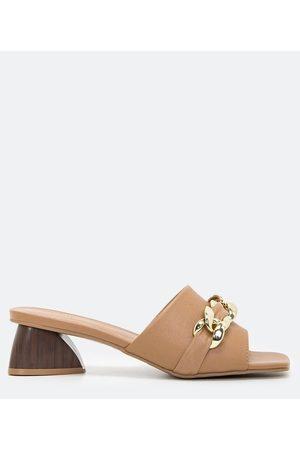 Satinato Sapato Mule - Sandália Tamanco Enfeite Corrente Salto Diferenciado | | | 35