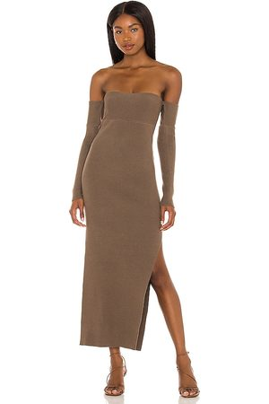 House of Harlow X REVOLVE Hazel Off Shoulder Dress in Taupe. - size L (also in M, S, XL, XS, XXS)
