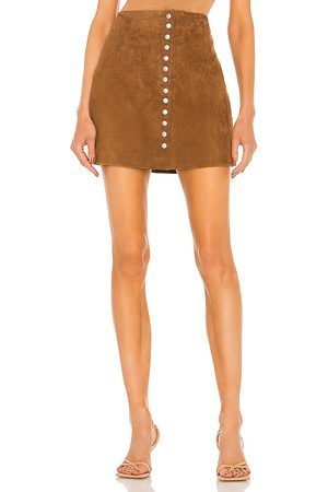 BLANK NYC Saia Couro - Suede Snap Skirt in Brown. - size 24 (also in 25, 26, 27, 28, 29, 31)