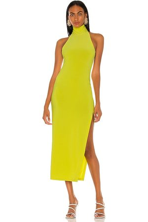Norma Kamali Vestido Frente Única - Halter Turtle Side Slit Gown in Green. - size L (also in M, S, XS)