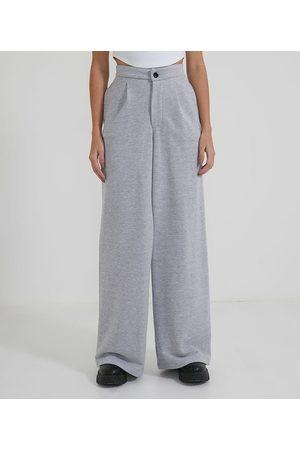 Blue Steel Mulher Moletom Completo - Calça Pantalona em Moletom com Botão e Pregas | | médio | PP