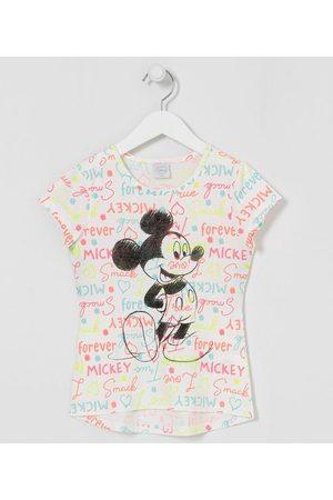 Mickey Mouse Blusa Infantil Estampa Letterings Coloridos e Mickey - Tam 5 a 14 anos       11-12