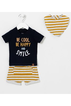 Teddy Boom (0 a 18 meses) Conjunto Infantil Estampa Be Cool Be Happy and Smile com Babador - Tam 0 a 18 meses       6-9M