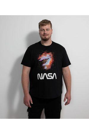 Nasa Homem Camisolas de Manga Curta - Camiseta Manga Curta em Algodão Estampa Galáxia       M