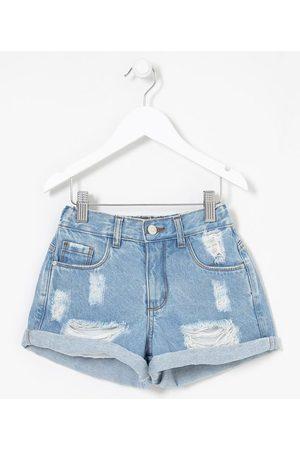 Fuzarka (5 a 14 anos) Short Infantil em Jeans Cintura Alta com Puídos - Tam 5 a 14 anos       13-14