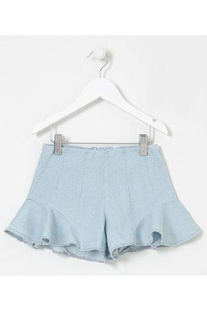 Fuzarka Short Infantil em Jeans com Babados - Tam 5 a 14 anos     claro   11-12