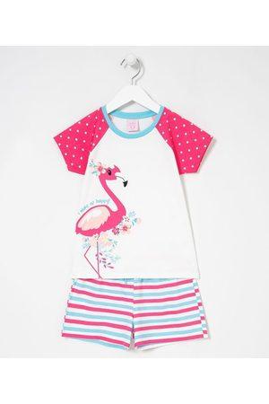 Cubus Pijama Infantil Curto Estampa Flamingo com Flores - Tam 5 a 14 anos       5-6