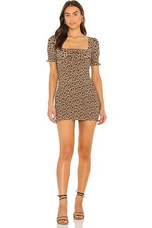 MAJORELLE Lexi Smocked Mini Dress in Brown. - size L (also in M, S, XL, XS, XXS)