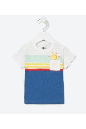 Póim (1 a 5 anos) Criança Camisolas de Manga Curta - Camiseta Infantil Estampa de Sol e Bolsinho - Tam 0 a 18 meses       12-18M