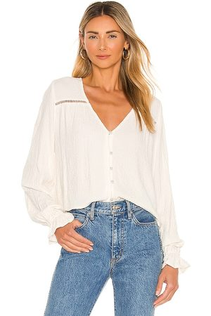 Amuse Society Sarah Long Sleeve Woven Blouse in Ivory. - size L (also in M, S, XS)