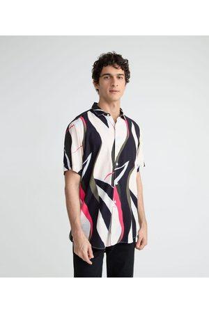 Request Camisa Manga Curta em Viscose Estampa Blocada     Multicores   M