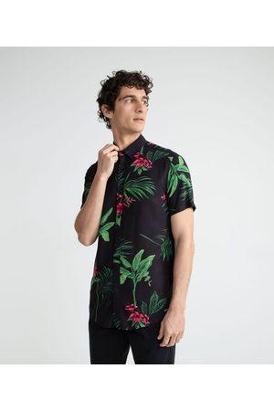 Blue Steel Homem Camisa Manga Curta - Camisa Manga Curta em Viscose Estampa Folhagens e Flores | | | G