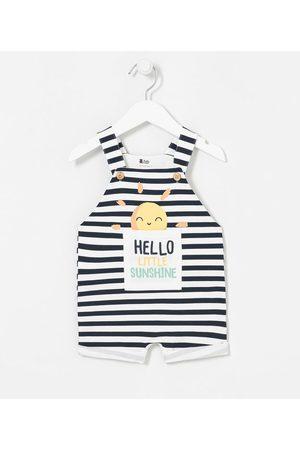 Teddy Boom (0 a 18 meses) Criança Jardineira - Jardineira Infantil em Moletom Listrado Estampa de Sol - Tam 0 a 18 meses | | | 12-18M