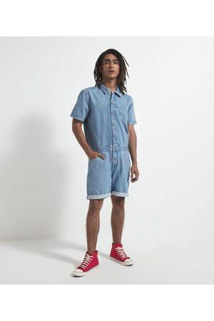 Blue Steel Homem Camisa Jeans - Macacão Curto Jeans com Gola de Camisa e Abotoamento Frontal       PP
