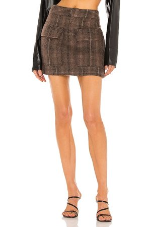 KIM SHUI Wool Mini Skirt in Brown. - size L (also in M, S, XS)