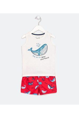 Póim (1 a 5 anos) Criança Sets - Conjunto Infantil Curto com Estampa de Baleia - Tam 1 a 5 anos       01
