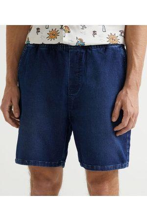 Blue Steel Homem Bermuda - Bermuda Skinny em Jeans com Amarração       G