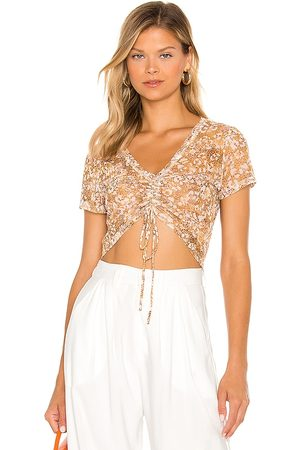 BCBGeneration Drawstring Top in Yellow. - size L (also in XS, S, M)