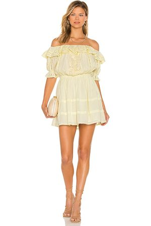 Tularosa Brielle Embroidered Dress in Lemon. - size S (also in XXS, XS, M, L)