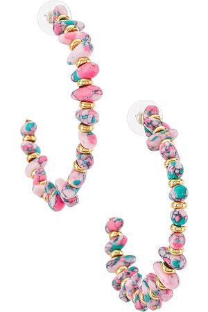 Lele Sadoughi Rio Grande Oversized Hoop Earrings in Pink.
