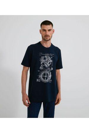 Marfinno Homem Camisolas de Manga Curta - Camiseta Manga Curta com Estampa de Sketch Bússola       GG